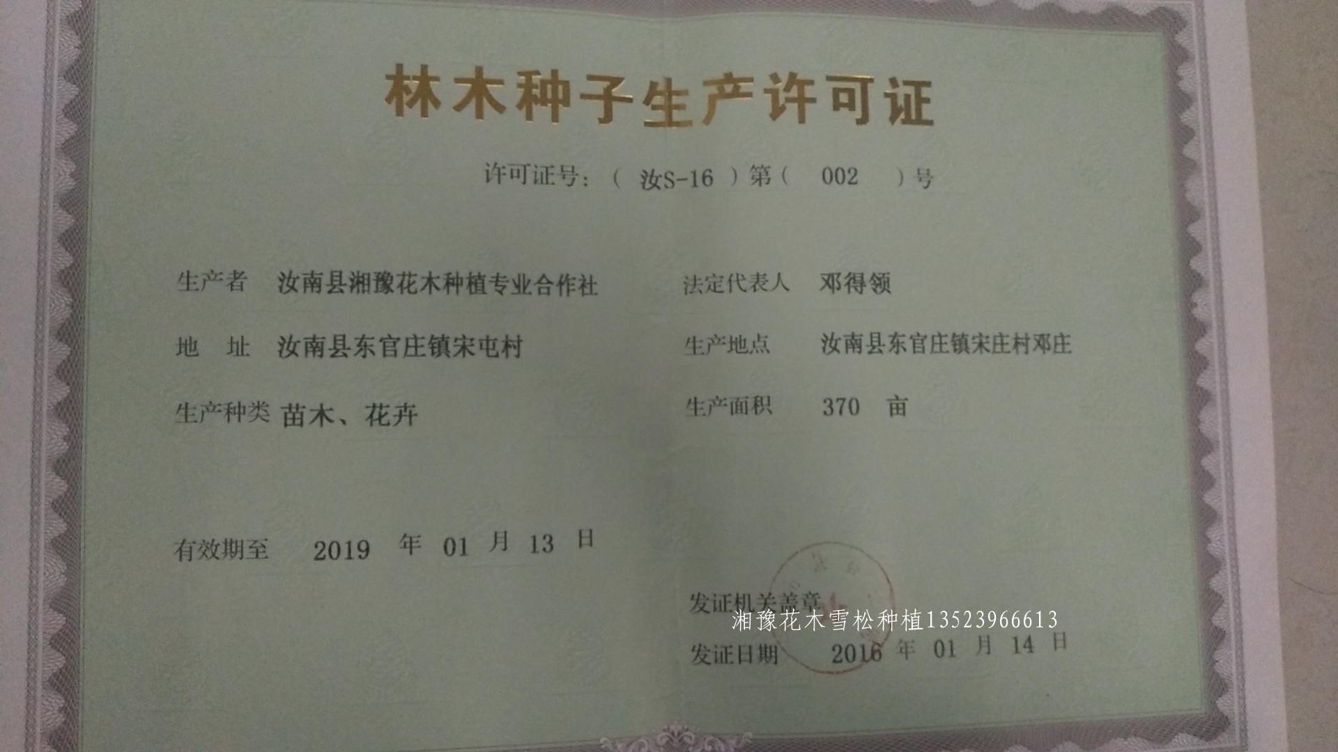 湘豫苗木营业执照核定370亩